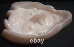 Devil's Face Evil Angel Smile Art Deco Milk White Glass High Relief Ashtray Dish