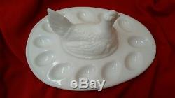 Deviled Egg Plate With Setting Hen White Milk Glass Excellent