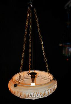 Early 1940s art deco large segmented Opaline milk glass lantern light plafonier