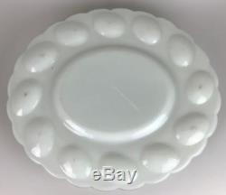 FENTON 1950s White Milk Glass Hen Nest Deviled Egg Server Platter Tray Bowl Dish