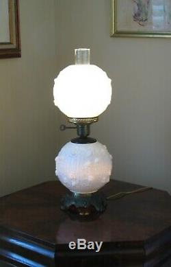 FENTON LAMP Double Ball 22 ROSE MILK GLASS 3-Way Brass Fittings 1960s Excellent