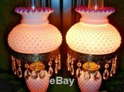 FENTON OLD Peach Blow MILK GLASS HOBNAIL STUDENT LAMP GWTW STYLE (1-2)