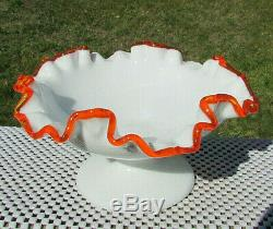 FENTON RARE FLAME CREST Milk Glass FOOTED Compote CRIMPED 6.75-7W x 3.5H
