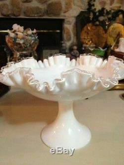 FENTON RUFFLED WHITE Milk Glass SILVER CREST PEDESTAL COMPOTE