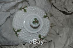 FENTON WHITE VINTAGE HOLLY FLOWER MILK GLASS SIGNED B Philips, Louise Piper RARE