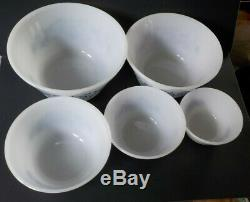 Federal Milk Glass Blue Bucks County Mixing Baking Bowls Vintage MINT BOXED SET