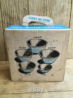 Federal Milk Glass Blue Bucks County Mixing Baking Bowls Vintage MINT BOXED SET