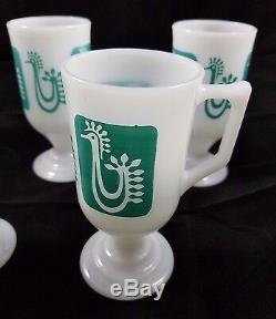 Federal Milk Glass Turquoise Danish Rooster Continental Pedestal Mugs Cups SET 4