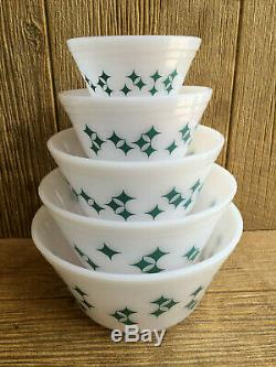 Federal Milk Glass Turquoise Twinkle Stars Mixing Nesting Bowls Vintage Mint Box