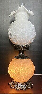 Fenton 3 Way Milkglass Poppy GWTW Lamp Large