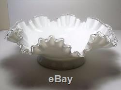 Fenton 4 Horn 5 Piece Silver Crest Epergne White Milk Glass Vase Centerpiece