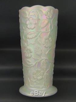 Fenton ART GLASS FOR QVC- PEACOCK GARDEN PEARLIZED Milk Glass Vase 2694