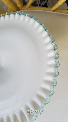 Fenton Aqua Crest Milk Glass 13 Cake Stand Cake Plate Excellent