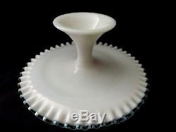 Fenton Aqua Crest Milk Glass Cake Salver Cake Plate Excellent