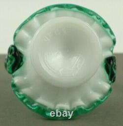 Fenton Art Glass Milk Glass with Green Crest #37 Mini Miniature Basket NFGS