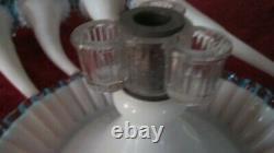 Fenton Art Glass Stunning Aqua Crest Epergne 4 Horns Elegant 16 Tall