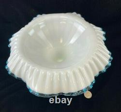 Fenton Art Milk Glass Aqua Crest Epergne Bowl with 4 Lily Horn Vases-17 TALL