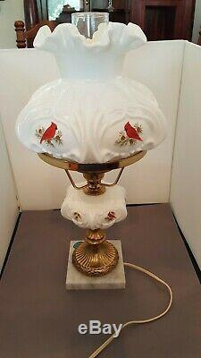 Fenton Cardinals in Winter Student Lamp White Milk Glass Hand Painted Signed