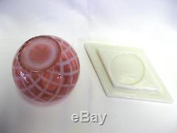 Fenton Cranberry Opalescent Diamond Optic Ivy Ball and Milk Glass Base