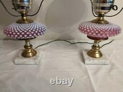 Fenton Cranberry and Milk Glass Hobnail Lamp