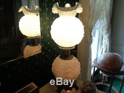 Fenton Embossed Poppy Milk Glass GWTW Parlor Lamp 23
