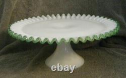 Fenton Emerald Crest Milk Glass 12-1/2in. Cake Stand/Plate