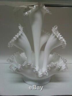 Fenton Epergne Silver Crest AB 354 4 Horn Vase
