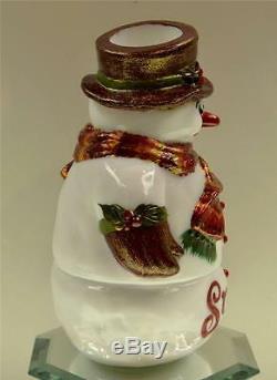 Fenton FAIRY LIGHT LAMP Milk Glass Snowman LET IT SNOW OOAK freeUSAshp