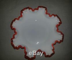 Fenton FLAME CREST Milk Glass 8 Double Crimp Bon Bon Dish