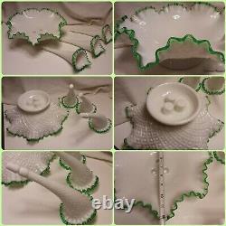 Fenton Glass Emerald Crest Epergne. Fenton Milk Glass Diamond Lace. FINAL SALE