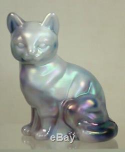 Fenton Glass Milk Glass & Plum Purple Slag Iridized Sitting Cat NIL 1996
