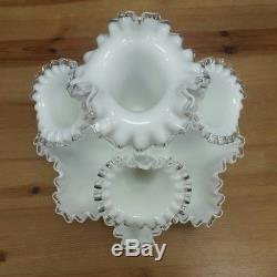 Fenton Glass White Silver Crest 4 Horn Epergne MINT Condition Milk Glass