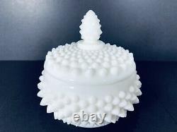 Fenton Hobnail Milk Glass Complete Vanity Set Tray, Puff Box & Perfume'55-'65