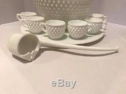 Fenton Hobnail Milk Glass Punch Bowl Underplate Cups & Ladle