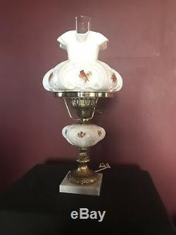 Fenton Lamp MILK GLASS with Marble Base CARDINALS IN WINTER signed P. Bennett