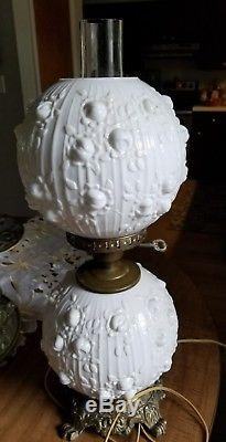 Fenton Lamp Rose Bud Milk Glass Hurricane Gone With The Wind 20 Base Lights Up