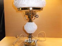 Fenton Lamp White Milk Glass Poppy Pattern NICE