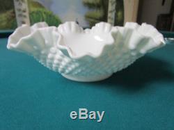 Fenton Large Ruffled Hobnail White Milk Glass Bowl 11 1/2