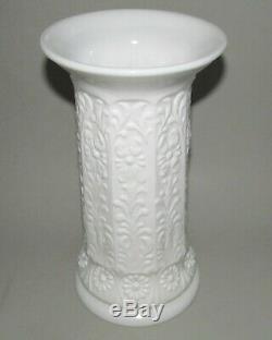 Fenton Milady Vase 10.5 Milk Glass Floral White #1110 Flared Rim Antique 1930s