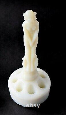 Fenton Milk Glass Collectible September Morn Nymph and Flower Frog Block