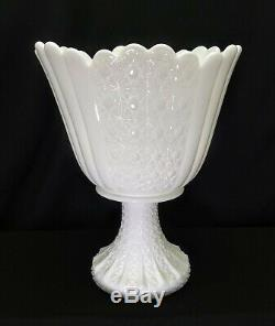 Fenton Milk Glass Daisy & Button Pattern Huge Footed Pedestal Vase 10 1/4 Tall
