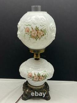 Fenton Milk Glass Gone with the Wind Hurricane Table Lamp with Pink Flowers Vtg
