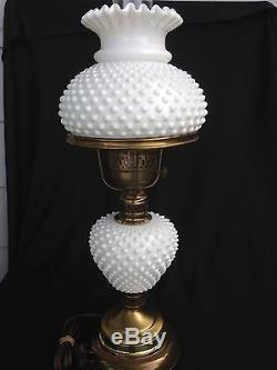 Fenton Milk Glass Hobnail 20 Original Lamp Shade Nightstand Table 3 Way Light