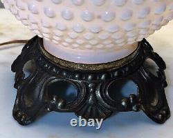 Fenton Milk Glass Hobnail Gone With The Wind Double Globe Hurricane Lamp 21