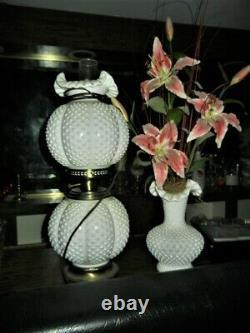 Fenton Milk Glass Hobnail Gone With The Wind Double Globe Hurricane Lamp GWTW