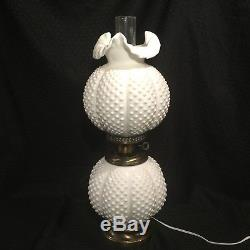 Fenton Milk Glass Hobnail Lamp Gone With The Wind White
