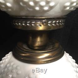 Fenton Milk Glass Hobnail Lamp Gone With the Wind White Vintage