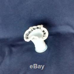 Fenton Milk Glass Opalescent Mini Vase Toothpick Holder Crystal Crest Tri Rim