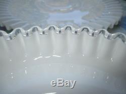 Fenton Milk Glass & Silver Crest Crimped Sandwich Platter Tray Chip & Dip Bowl