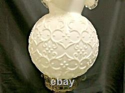 Fenton Milk Glass Spanish Lace Double Globe Gwtw Lamp-very Hard To Find